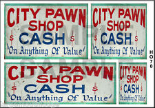 WEATHERED HO SCALE WATERSLIDE BUILDING DIORAMA LAYOUT SIGNS CITY PAWN SHOP HO70