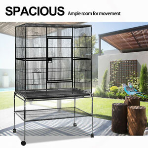 Bird Cage Large Parrot Aviary Pet Stand-alone Budgie Perch Castor  Cages  AU