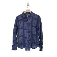 Sundance Catalog Size Medium Patchwork Boho Crochet Button Up Shirt Blouse