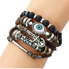 Mens leather adjustable beaded turkish eye amulet anchor bracelet