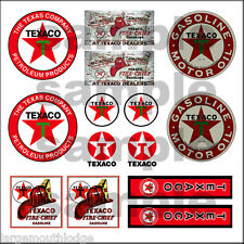 TEXACO 1:87 HO SCALE BUILDING DIORAMA GAS STATION SIGNS DECALS FREE FLAG