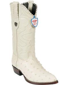 WILD WEST WINTER WHITE GENUINE FULL QUILL OSTRICH WESTERN COWBOY BOOT J-TOE (D)