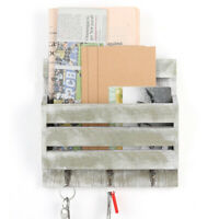 Wall-Mounted Mail Rack Holder with 3 Key Hooks Envelope Organizer For Entryway