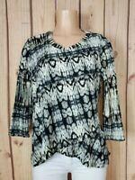 LAURA SCOTT Womens Size Medium 3/4 Sleeve Shirt Abstract Textured Poly Top