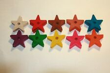 "Parrot Toy Parts, 10 Each Wooden Stars 1 1/2"" w/ 38"" Hole Ptp014"