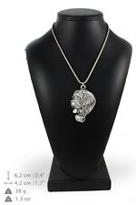 St. Bernard - silver covered necklace with silver chain, Art Dog