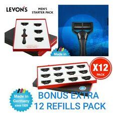 LEVONS MENS RAZOR STARTER PACK WITH 4 5 BLADED REFILLS + BONUS BOX OF 12 REFILLS