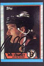 BOB SWEENEY Boston Bruins Autograph 1989 Topps #135 Signed Hockey Card JSA 16H