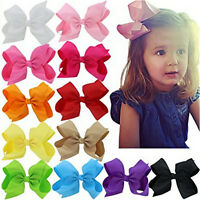 20pcs Baby Big Hair Bows Boutique Girls Alligator Clip Grosgrain Ribbon FO