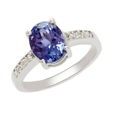 925 Sterling Silver Ring In Natural Princess Cut Tanzanite Size-7.5  SHRI0286