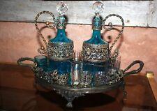 Cave à liqueur plateau miroir métal argenté cabaret Napoleon III Baccarat