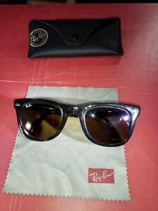 Ray-Ban RB4105 Folding Wayfarer Sunglasses Tortoise Frames Brown Lens