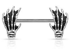 NEW & SEALED - Skeleton Hand  nipple bar barbell