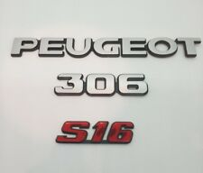 ⭐🇫🇷 NEUF PACK 3 MONOGRAMMES PEUGEOT 306 S16 chrome LOGO REPRO NEW BADGE EMBLEM