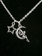 Silver Fairy-Moon-Star Necklace-tink-with chain-enchanted-little girl child