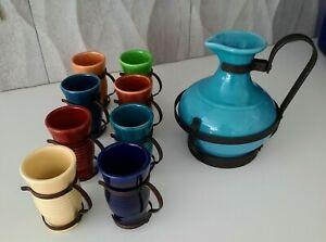 1930's Franciscan Gladding McBean El Patio Bistro/Coffee Carafe with 8 Mugs