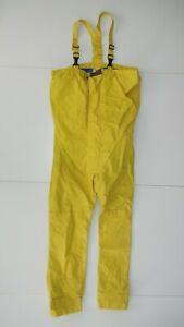Vtg 80s 90s HENRI LLOYD Yellow Nylon SAILING BIBS Fishing Boat Rain Pants Men M