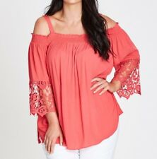 Plus Size Autograph Ladies 3/4 Crochet Sleeve Off The Shoulder Coral Top Size 20