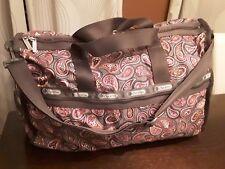 Lesportsac Large Duffle Bag Weekender Brown Paisley Pattern