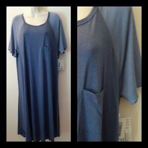 LulaRoe Carly A-line Swing Hi Low Hem Knit Dress Size 2XL XXL 20 22 NWT raglan