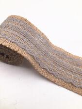 2m eter lace burlap ribbon natural width 6cm Vintage Wedding Party Deco gray