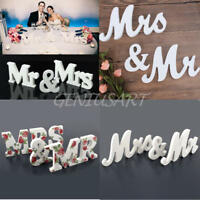 Mr & Mrs Sign Letters Solid Wooden Standing Top Table Wedding Home Decorations