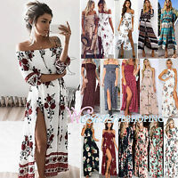 Womens Boho Floral Summer Beach Slit Evening Party Cocktail Maxi Dress Sundress
