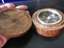 SMALL NAUTICAL FLOATING GIMBAL COMPASS IN WOODEN CASE WITH BRASS ANCHOR LID