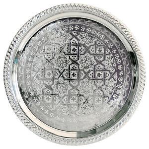 Oriental Silver Platter Tea Tray Side Table Marocco Handmade D34cm