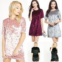 EG_ Women Summer Casual Loose Short Sleeve Round Neck Velvet Party Mini Dress Ha