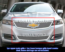 Fit 2014-2016 Chevy Impala Stainless Steel Bolt Over Mesh Grill Insert Combo