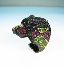 14 CTW TSAVORITE SAPPHIRE RUBY PANTHER RING Black Rhodium/Yellow Gold/925 Silver