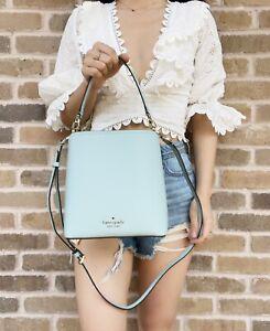 Kate Spade Darcy Small Bucket Bag Crossbody Cloud Mist Aqua Turquoise Leather