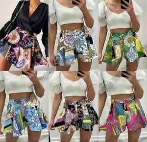 Women's Ladies Scarf Chain Print Tailored Peplum Flared Party Mini Skort Shorts