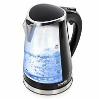 Tower T10012 Fast Boil Colour Changing LED Jug Kettle, 2200W 1.7L - Black