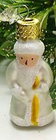 "Christmas Ornament Santa White Clothed Mini Mercury Glass 2"" Feather Tree"