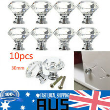 10pcs 30mm Diamond Shape Crystal Glass Door Cupboard Drawer Handle Pull Knob AU