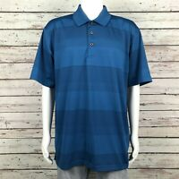 Grand Slam Performance Golf Polo Shirt 2XL Men's Dark Teal Blue Tonal Stripe