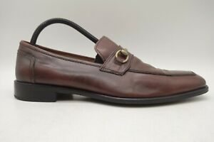 Neiman Marcus Roma Brown Leather Horsebit Dress Loafers Shoes Men's 8.5 M