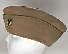 Usn Hat Us Navy Khaki Poly Wool Kingform Garrison Cap Insignia 7 3/8 or 23