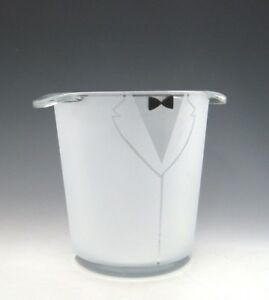 Groom Tuxedo Champagne Cooler Wedding Ice Bucket Hand Etched by Asta Glass