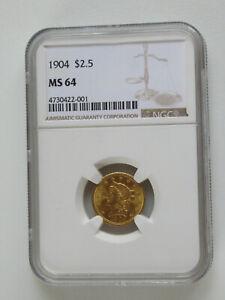 1904 $2.5 Gold Liberty Quarter Eagle - NGC MS64