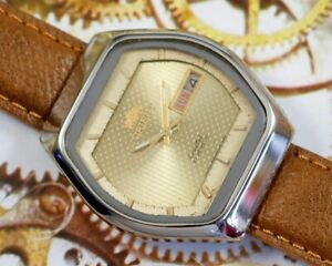 VINTAGE ORIENT CRYSTAL 21J AUTOMATIC DAY/DATE JAPAN MEN'S OLD USED WATCH #233029