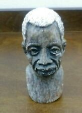 Vtg Stone Carved African Man Bust Head Figure Statue Folk Art
