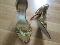 Moda in Pelle gold leather high heel peep toe shoes size 6 39 brand new no tags