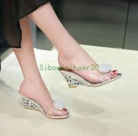 Womens Sexy High Wedge Heel Clear Transparent Sandals Slippers Shoes Plus SZ Hot