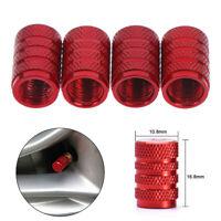 4Pcs Aluminium red car tyres valve stems air dust cover screw cap accessories OZ