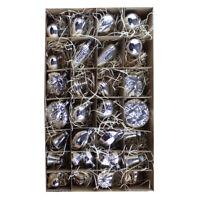 30er Christbaumschmuck Set Silber #2 Weihnachtskugeln, Mundgeblasen Lauscha