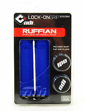 ODI Ruffian MTB Bicycle Lock On Grips Bonus Pack w/ Jaw Clamps, Blue