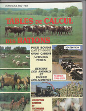 Table de Calcul des Rations  pour Bovins, Ovins, Caprins, Chevaux, Porcs
